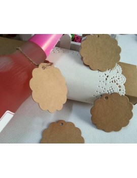 100 Pcs Wedding Brown Kraft Paper Favor Gift Tags with Jute Twines