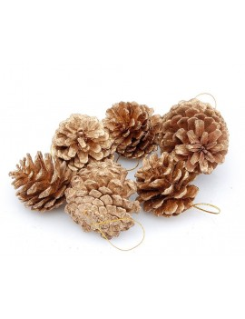 6 Pcs Pinecone Ornament for Christmas Tree - Brown