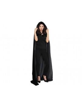Halloween Party Costume Cloak with Hood Long Velvet Cape - Black