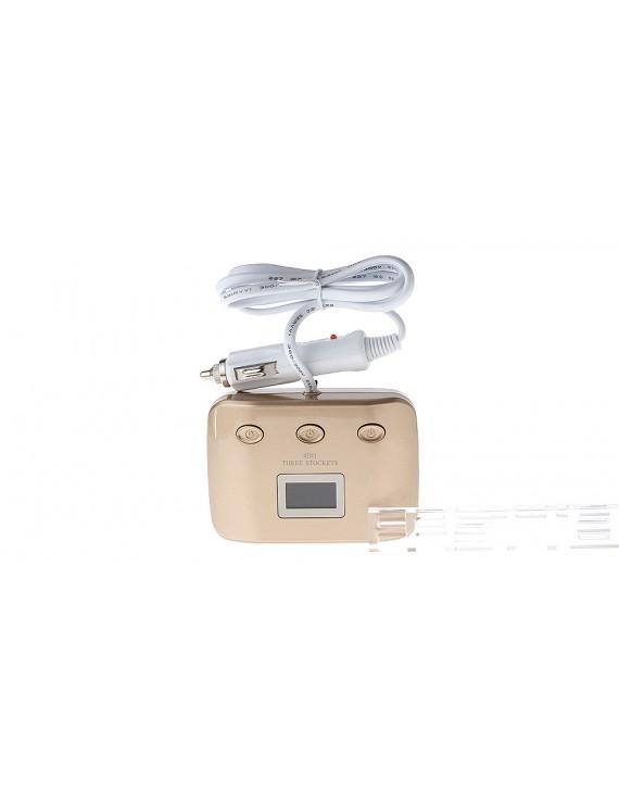 """1.1"""" LCD 1-to-3 Car Cigarette Lighter Power Splitter Adapter w/ 2*USB Ports"""